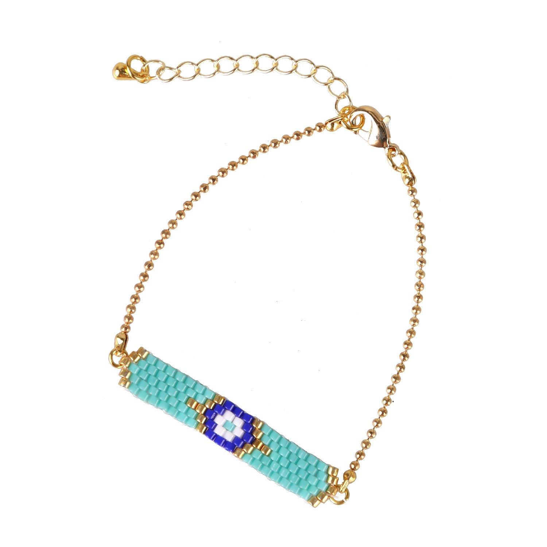 KELITCH Handmade Seed Beaded Bracelet Chain Wrap For Women Jewelry Gift (Light Blue)