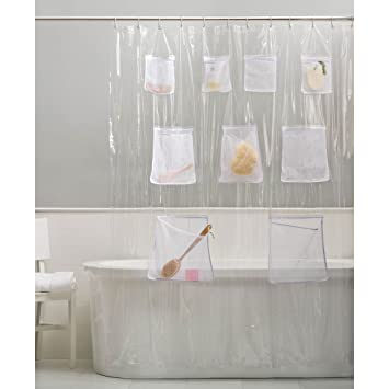 Amazon.com: Vinyl Shower Curtain Liner With Mesh Pockets By ...