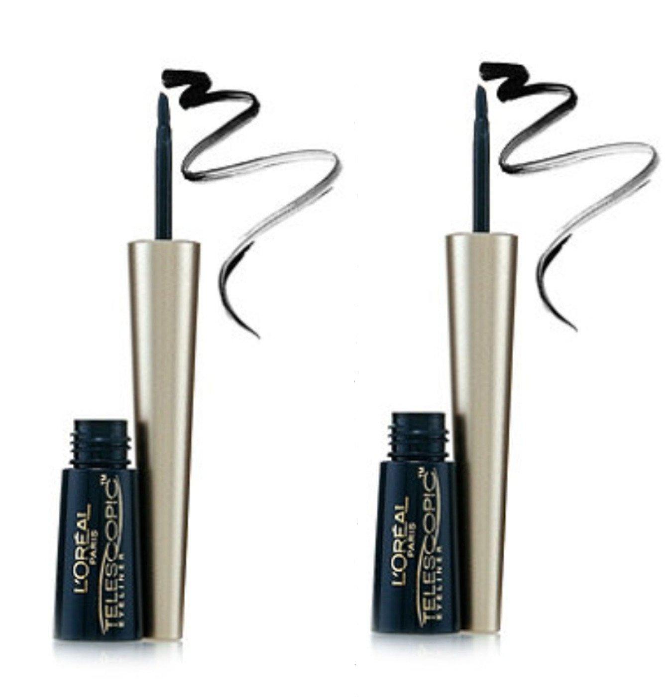 L'Oreal Telescopic Precision Liquid Eyeliner, Black [810] 0.08 oz (Pack of 2)
