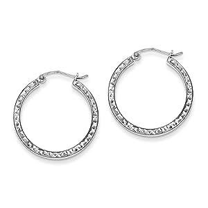 .925 Sterling Silver 25 MM Square Diamond-Cut Hoop Earrings