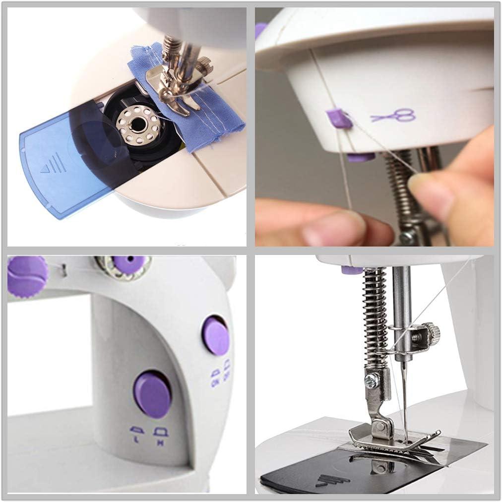 Wefond Doble velocidad portátil Mini máquina de coser con mesa de ...