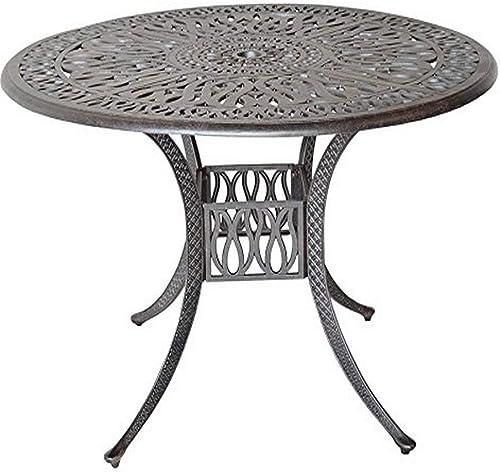 K B PATIO LD777A-60 Elizabeth Round Dining Table, 60 , Antique Bronze