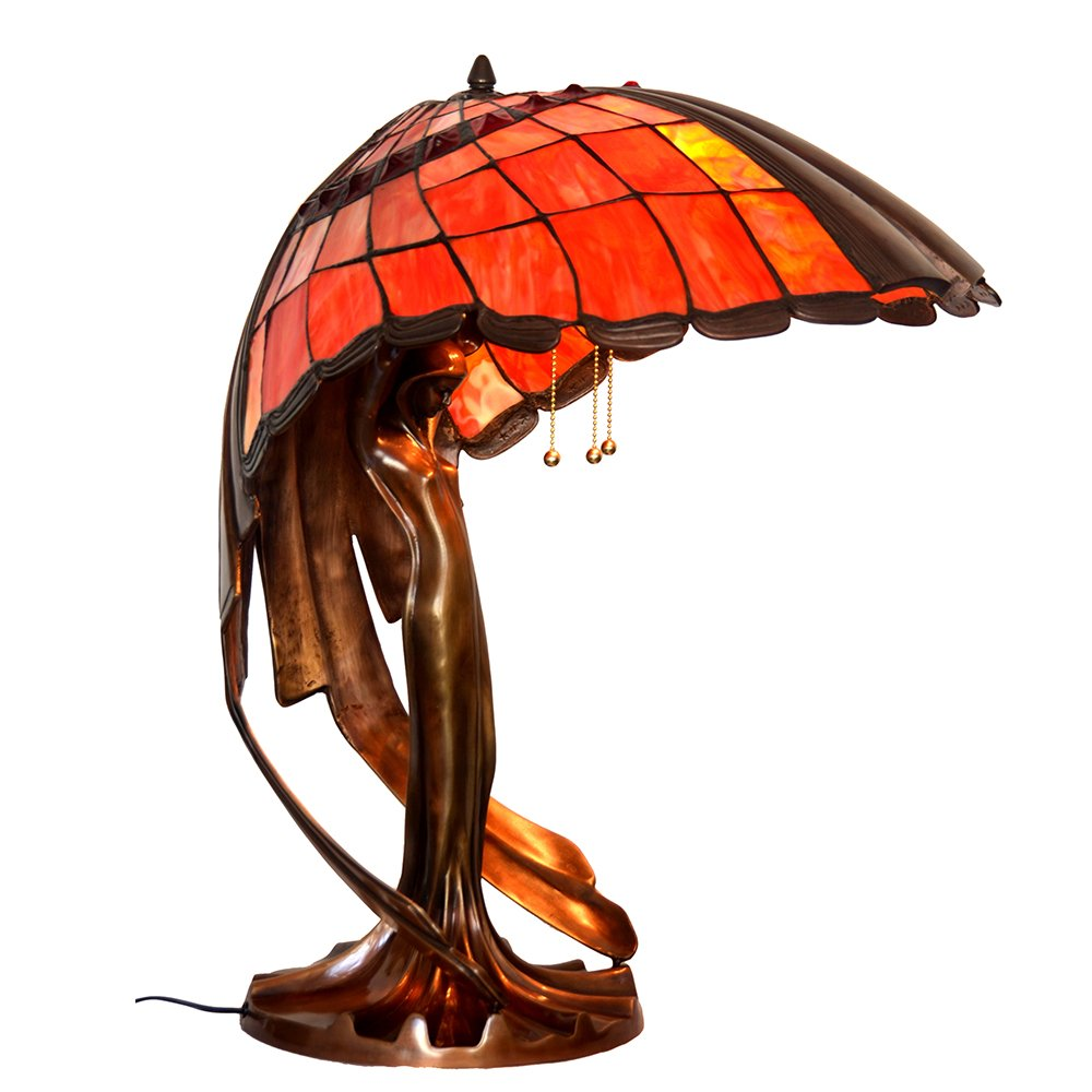 Bieye L10001 28-inches Flying Girl Tiffany Style Stained Glass Table Lamp with 100% Brass Base, L22 x W18 x H28 inches, Red