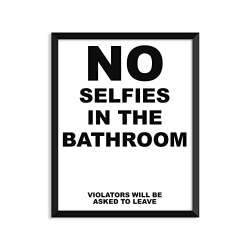 No Selfies In The Bathroom, Funny Quote, Minimalist Poster, Home Decor,  College Part 52