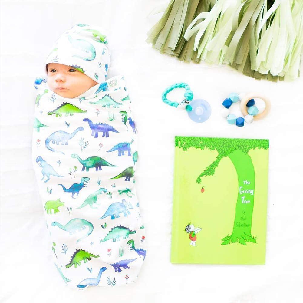 Leoie 2pcs//Set Soft Cotton Baby Swaddled Muslim Blanket Matching Hat