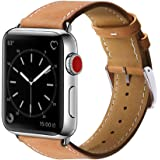 For Marge Plus Apple Watch Band Genuine Leather iWatch Strap for Apple Watch Series 3 Series 2 Series 1, 38mm Brown