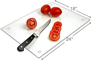 "Tempered Glass Cutting Board – Long Lasting Clear Glass – Scratch Resistant, Heat Resistant, Shatter Resistant, Dishwasher Safe. (XXLarge 18x24"")"