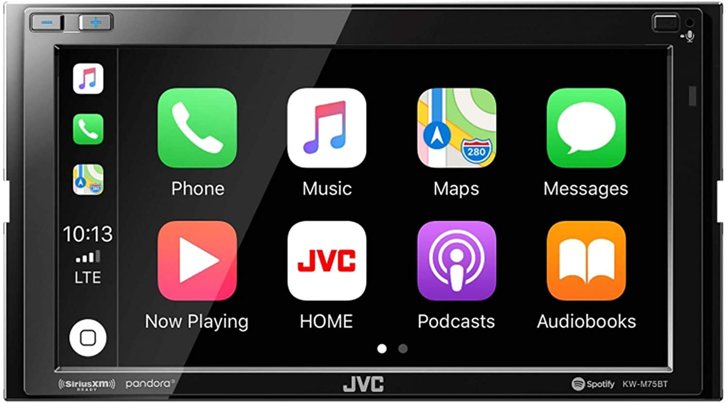 Bluetooth Double Din Car Stereo JVC KWM750BT Compatible with Apple Carplay Android Auto Car Multimedia Player 6.8 Inch LCD Touchscreen Monitor