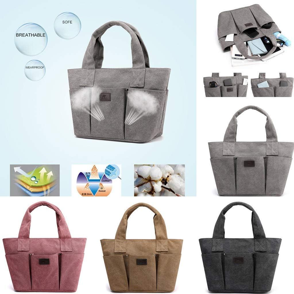 Fashion Womens Retro Solid Color Large Capacity Canvas Handbag Shoulder Bag