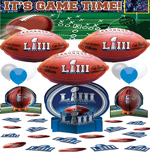 Super Bowl LIII 53 Party Supplies Pack of Banner Centerpiece Treat Bags and Balloon Decoration Bundle -