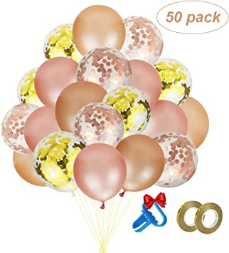 Amazon.com: Globos de confeti de oro rosa, paquete de 50 ...