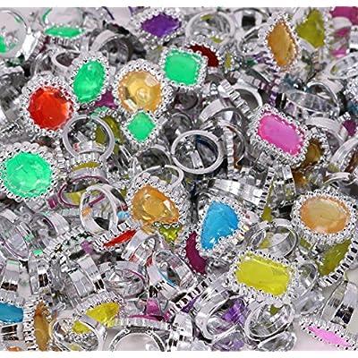 Colorful Rhinestone Rings Bulk Party Pack of 144 Plastic Jewel Rings: Health & Personal Care