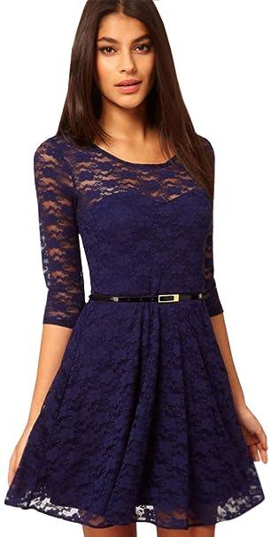 b6f5b270c61 Zumeet Women s Skirt Style Round Neck Lace Navy Dress with Belt (XX-Small