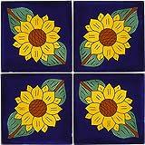 Tierra y Fuego Tile Set – Four (4) 6 x 6 in. Ceramic Mexican Tiles – Talavera For Sale