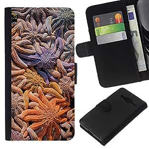 WINCASE Cuadro Funda Voltear Cuero Ranura Tarjetas TPU Carcasas Protectora Cover Case Para Samsung Galaxy Core Prime - líneas de colores pastel limpia