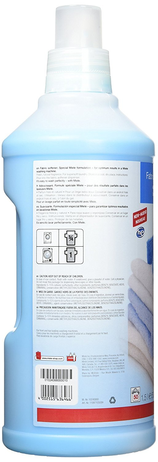 Amazon.com: Miele Care Collection HE Fabric Softener 50.72 fluid ounces (1.5 Litres): Health & Personal Care