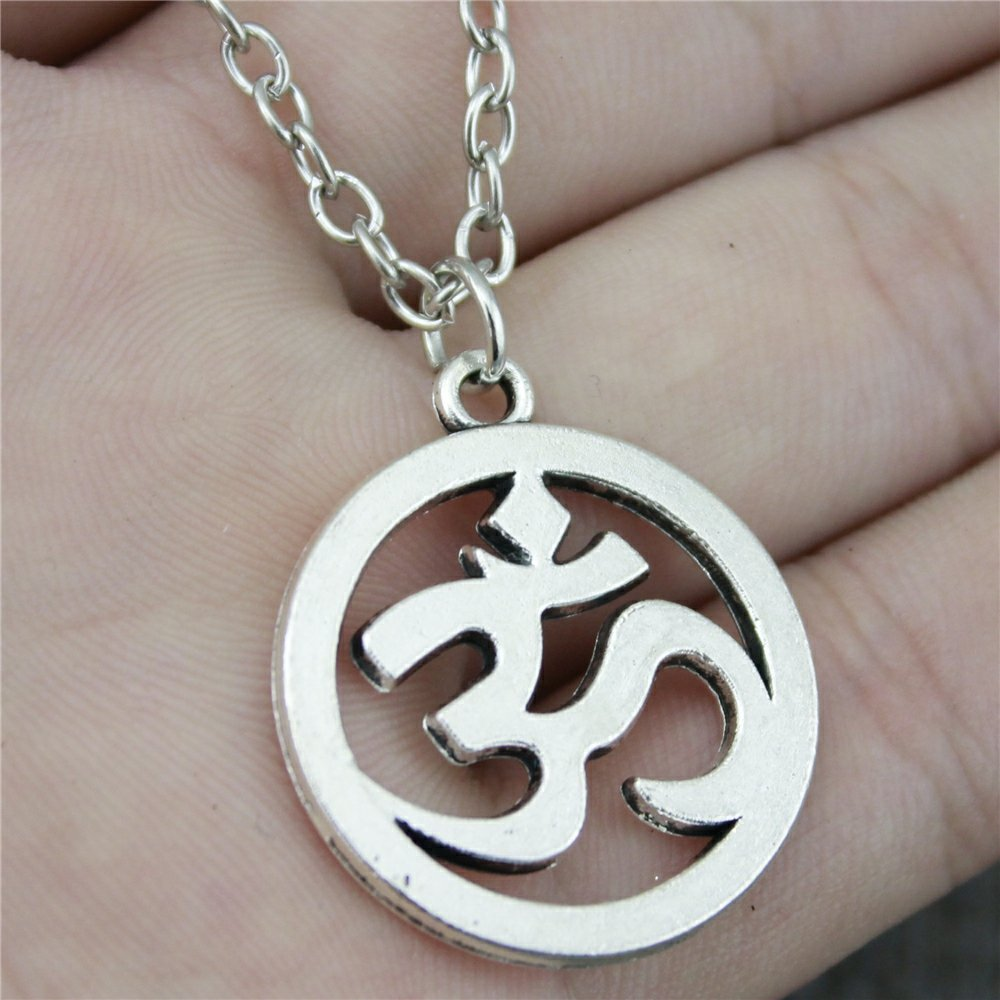NEWME Om Sign Charms Pendant Metal Chain Necklace For Tourism Handmade Jewelry Kraftpaper Box Gifts