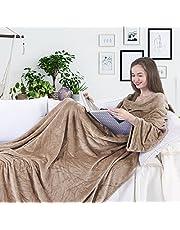 DecoKing TV deken microvezel knuffeldeken met mouwen en zakken microvezeldeken fleecedeken zacht Lazy 170x200 cm Beige