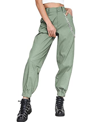 70c03cfdc7e ORANDESIGNE Women Harem Trousers Casual High Waist Cargo Pants Baggy Hip  Hop Dance Jogging Trousers with Chain  Amazon.co.uk  Clothing