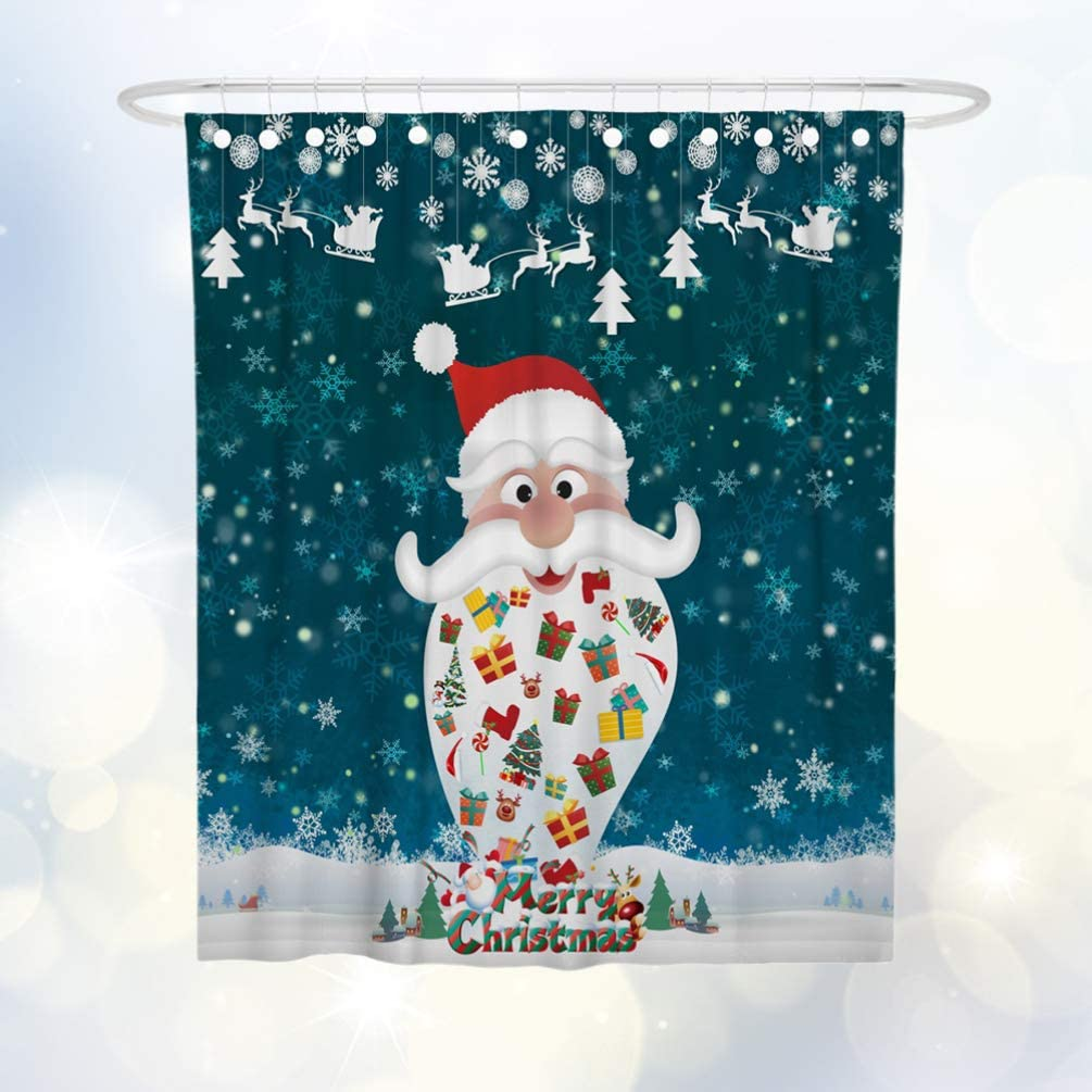 TOPBATHY Christmas Shower Curtains Waterproof Shower Curtain with Hook Mildew Resistant for Bathroom Showers Decoration Blue