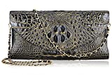PIJUSHI Women's Genuine Leather Embossed Crocodile Evening Party Clutches Handbags Shoulder Bag (66115, Black/Gold)