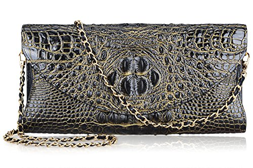 PIJUSHI Women's Genuine Leather Embossed Crocodile Evening Party Clutches Handbags Shoulder Bag (66115, Black/Gold) by PIJUSHI