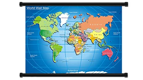 Amazon world map fabric wall scroll poster 32 x 23 inches world map fabric wall scroll poster 32quot x 23quot inches gumiabroncs Gallery