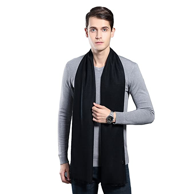4a70588ddc0 Mens Winter Cashmere Scarf - Ohayomi Fashion Formal Soft Scarves for  Men(Black)