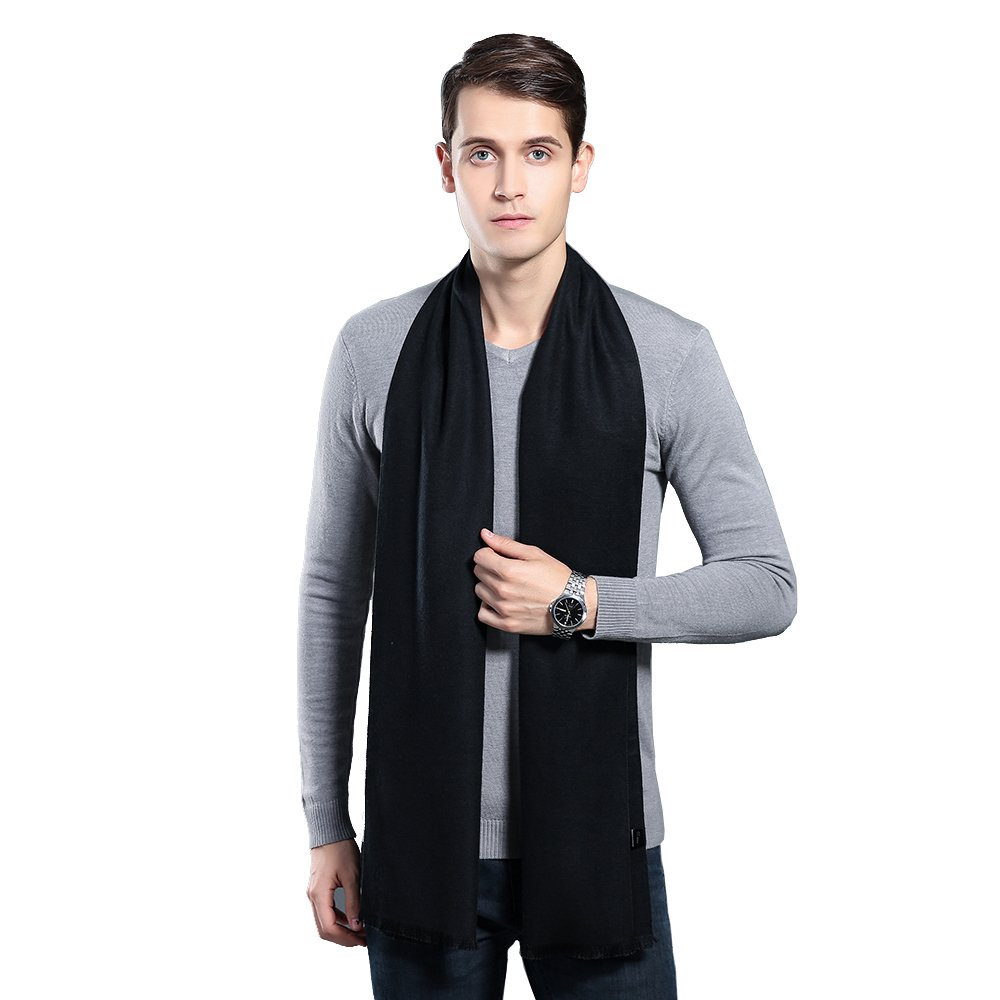 OHAYOMI Mens Winter Cashmere Scarf Fashion Formal Soft Scarves for Men(Black)