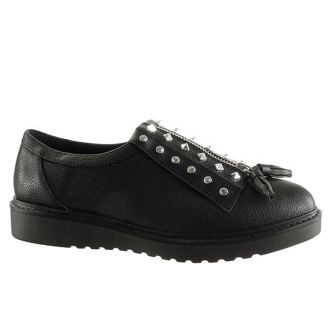 Angkorly Damen Schuhe Derby-Schuh - Plateauschuhe - Nieten - Besetzt - Reißverschluss - genarbtem Keilabsatz 2.5 cm - Schwarz JN1009 T 36 i8ajpQsA