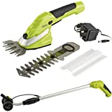 Garden Gear 7.2V Cordless Lightweight Hedge Trimming Shears with Lithium-Ion Battery 90mm Cutting Blade (Trimming Shears with Handle & Wheel Attachment)