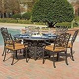 Lakeview Outdoor Designs Evangeline 6 Person Cast Aluminum Patio Fire Pit Dining Set, Antique Bronze Review