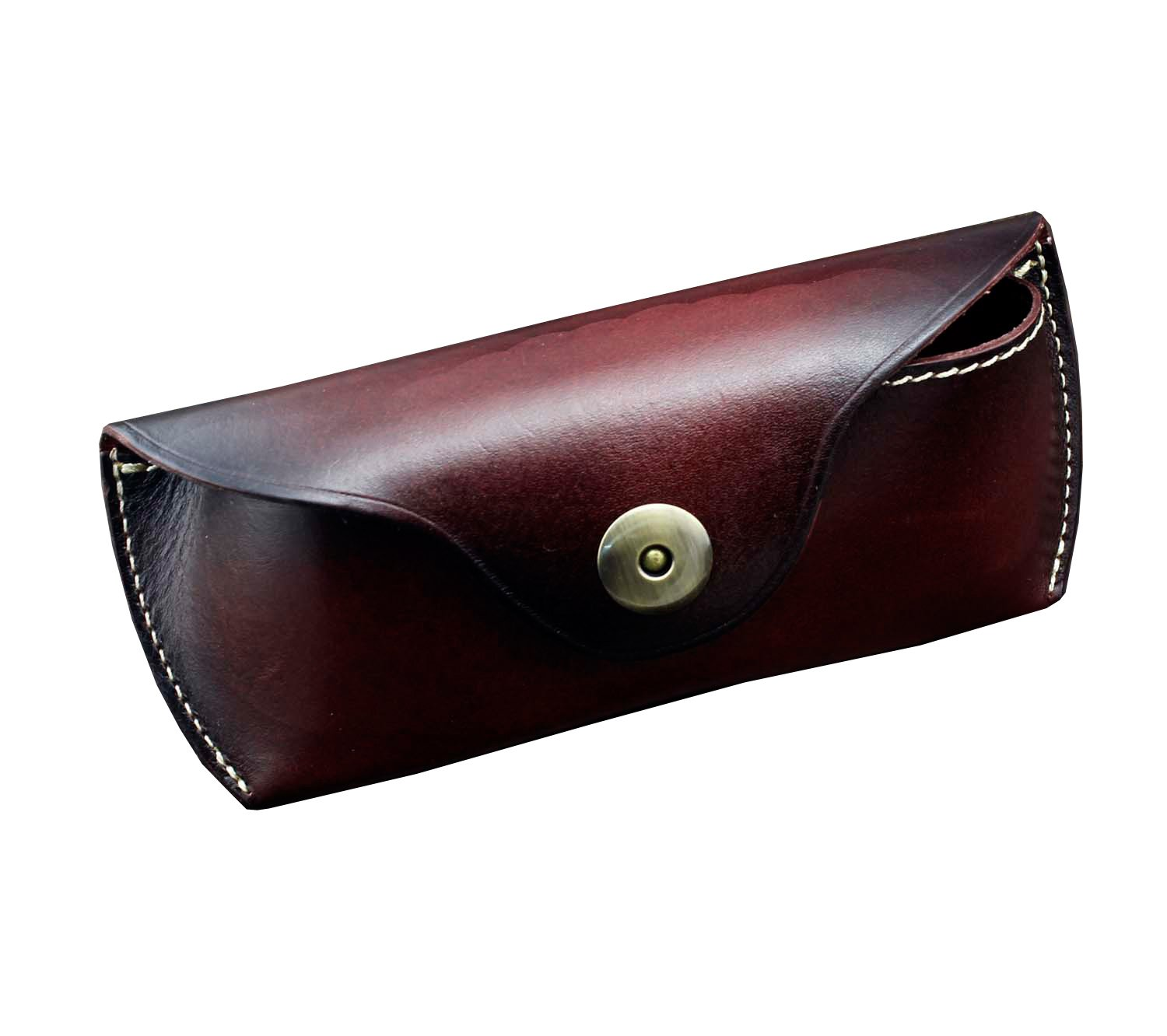 Real Cow Leather Handmade Glasses Pouch Vintage Sunglasses Belt Loop Case (wine red)