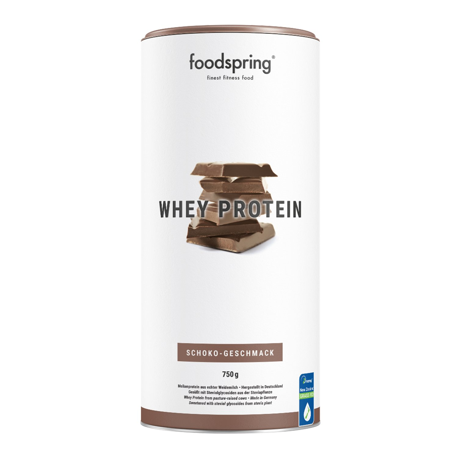 foodspring Whey Protein Powder, Chocolate, 750g, Powdered Formula with a high Protein Content for Stronger Muscles, Made from Premium Grass-fed Milk