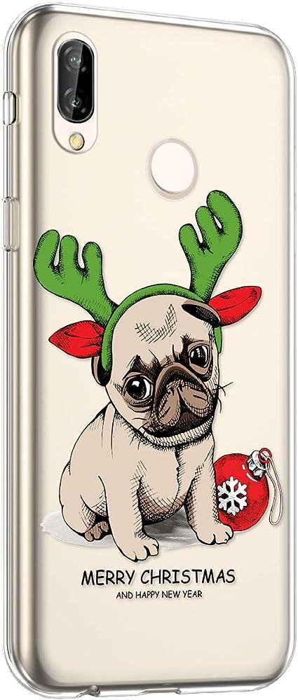 Cover Huawei P20 Lite,Surakey Cover Silicone Trasparente Serie di Natale Disegni Snowflake Christmas Case Sottile Cristallo Chiaro Gomma Morbida ...