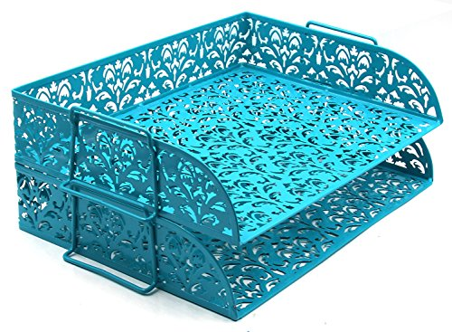 EasyPAG Desk Organizer 2 Tier Stackable Letter Paper Trays,Dark Teal
