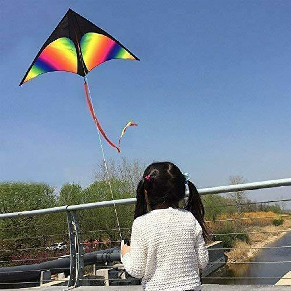vijTIAN Huge Big Large Rainbow Kite Kids And Adults Flying Wind Toy Boys Girls Outdoor Colorful Appearance and Minimalist Style