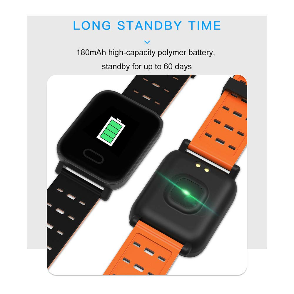 Amazon.com: Touch Screen Bluetooth Smart Watch,G-Sensor 3 A-Xis,Fitness Tracker with Heart Rate Monitor Pedometer Sports Activity Tracker(Orange): Kitchen & ...