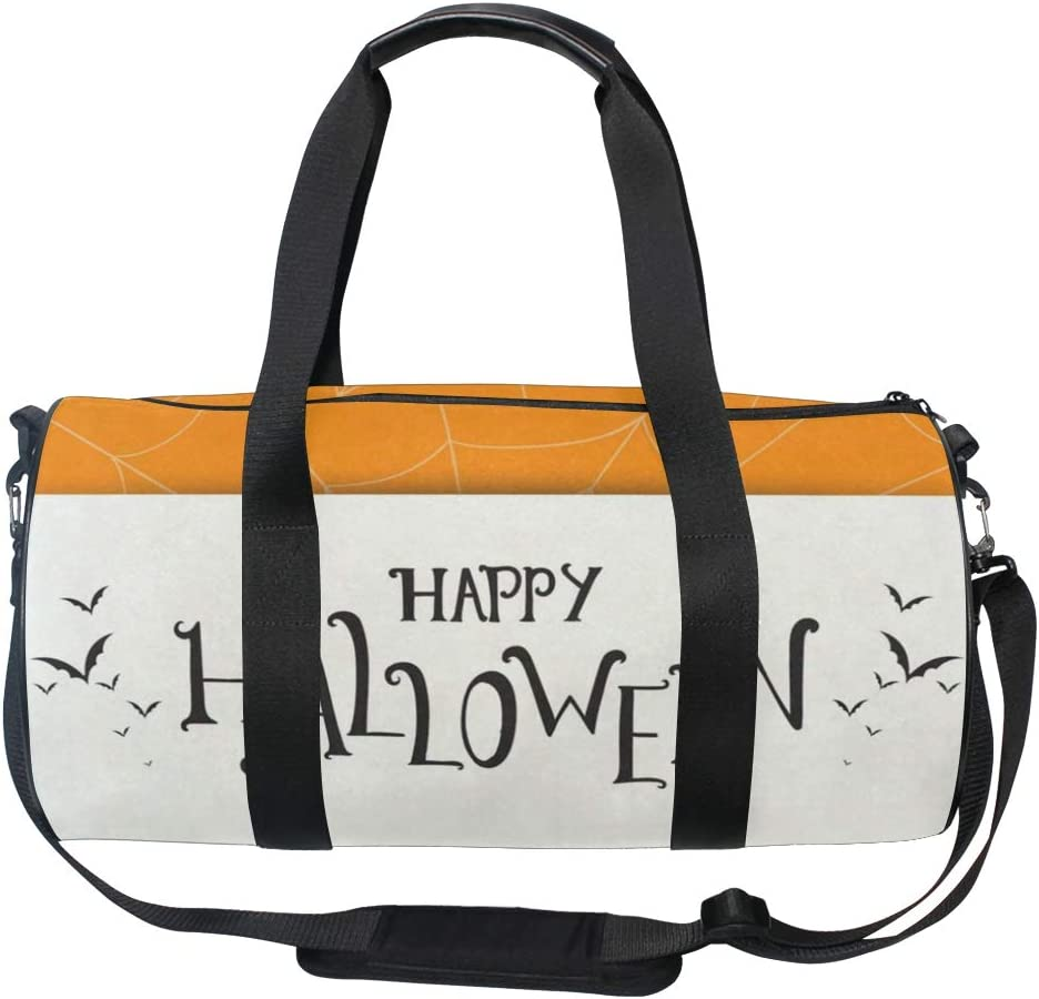 Sports Bag Happy Halloween Greeting Spiderweb Minimalist Mens Duffle Luggage Travel Bags Kid Lightweight Gym bag