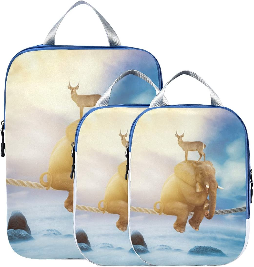Elephant And Elk 3 Set Packing Cubes,2 Various Sizes Travel Luggage Packing Organizers n