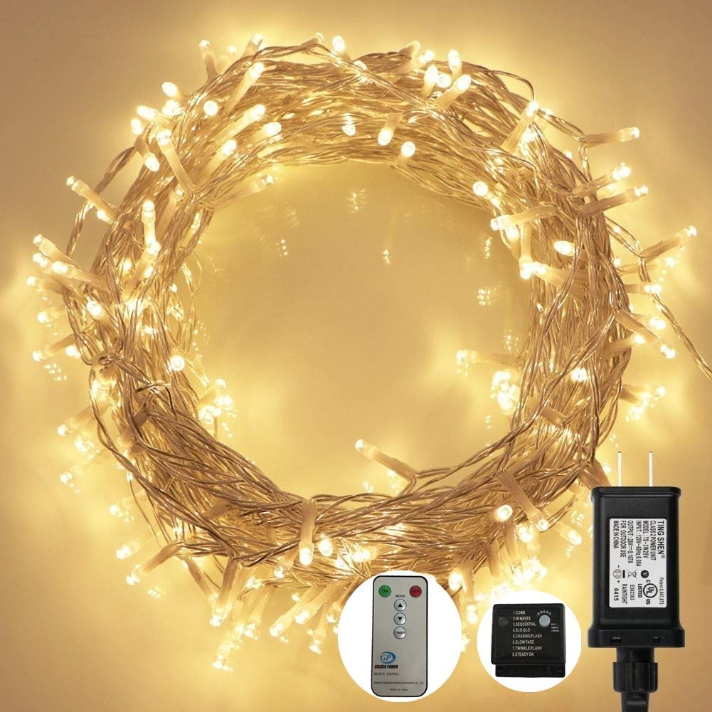 Adecorty LED String Lights Plug in Fairy Lights 75ft 200 LED Twinkle Decorative Lights with Remote 8 Modes UL Certified Warm White String Lights for Christmas Tree Wedding Party Bedroom Outdoor Indoor