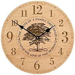 Parent Wedding Anniversary Gifts for parents Modern Decorative desk Wall Clocks Housewarming ideas for Couple him her The roots of a family Tree begins with the Love 12x2 (Maple)