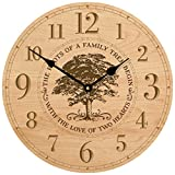 Parent Wedding Anniversary Gifts for parents Modern Decorative desk Wall Clocks Housewarming ideas for Couple him her The roots of a family Tree begins with the Love 12''x2'' (Maple)
