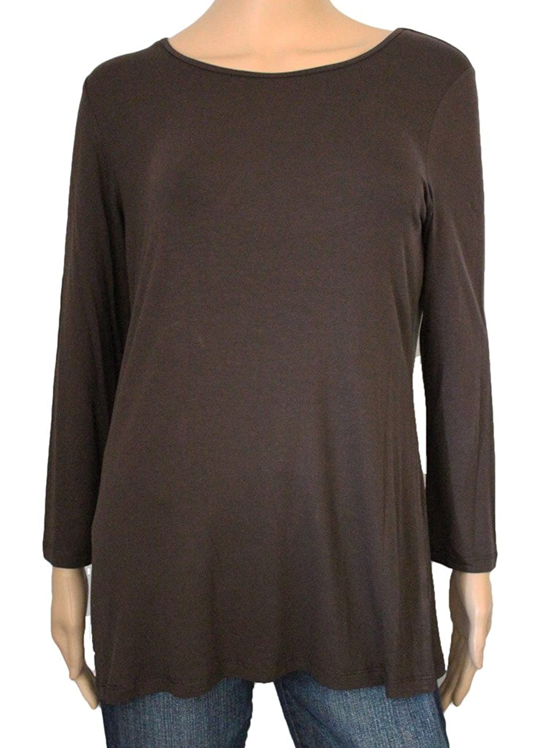 Multiples Women's Mocha Scoop Neck Top