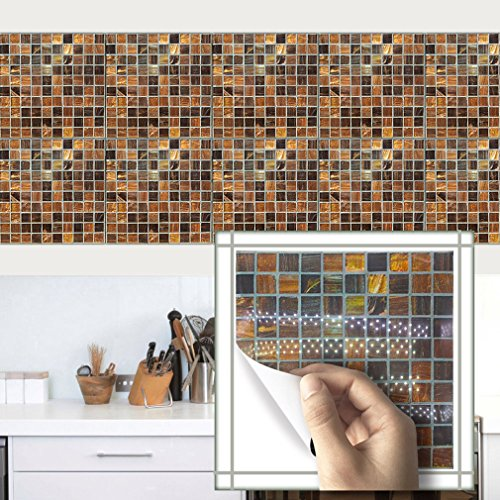 Tile Sticker for Kitchen & Bathroom Waterproof Anti-mold 10PCS 8x8 Inch Simple Removable Pearly Backsplash Tile Wall Sticker Stairs Decals