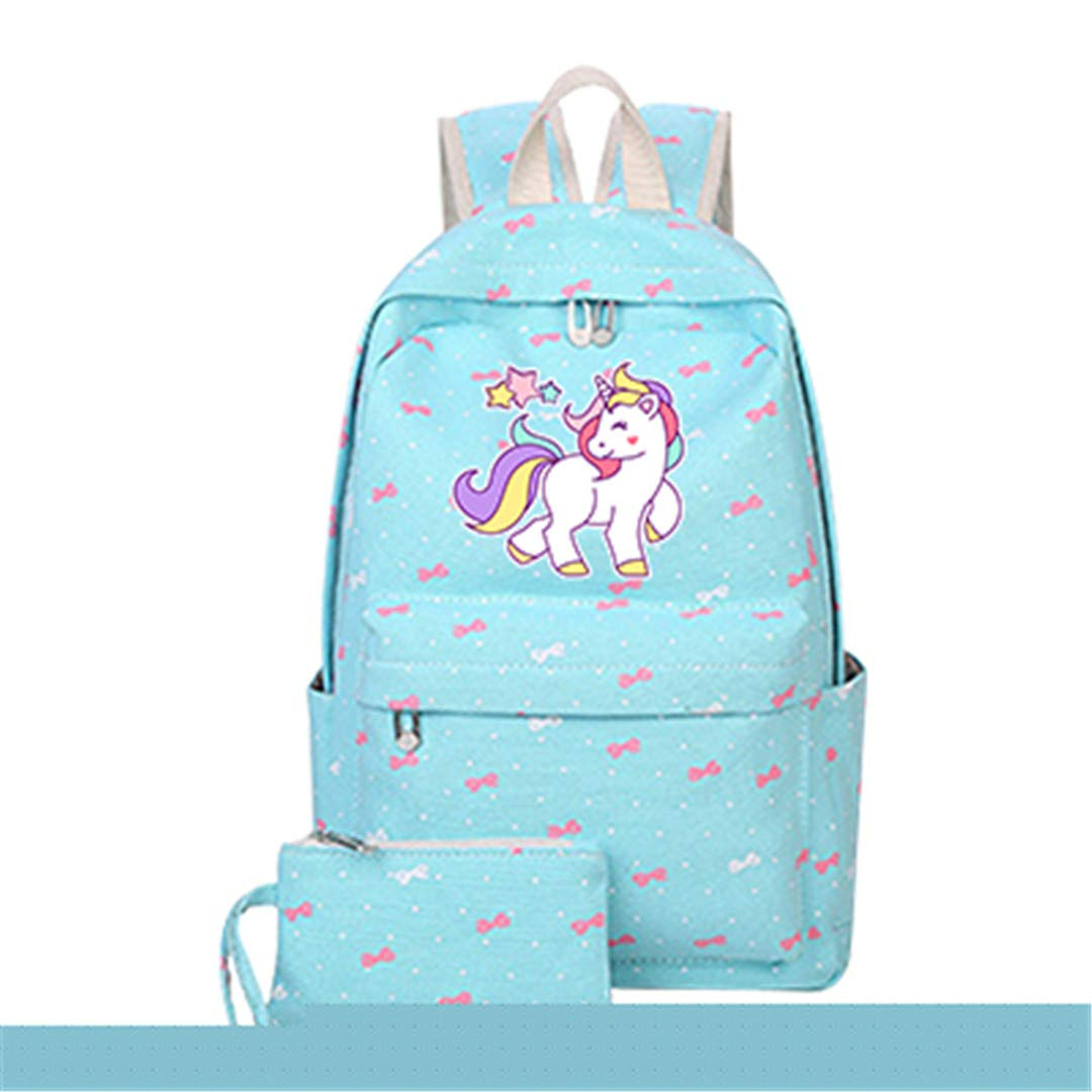 DL Unicorn4 40X28X14CM Anime Backpack with Unicorn Cartoon Canvas Bag for Teenage Girl