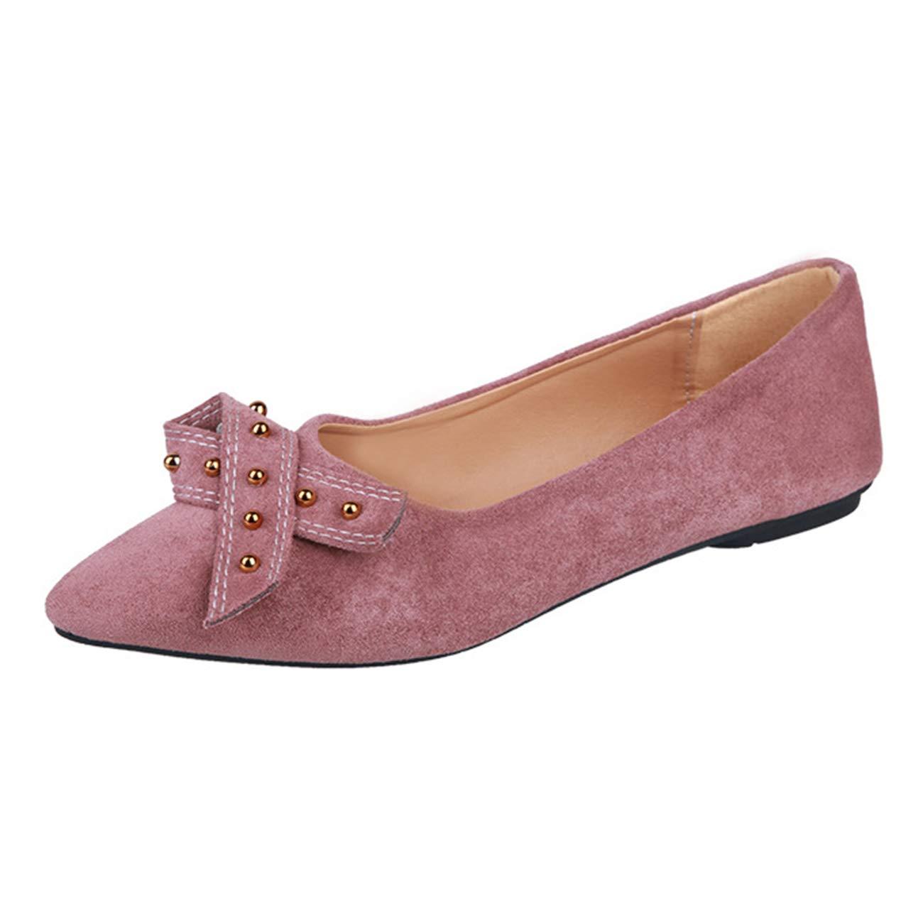 Mashiaoyi Womens Pointed-Toe Bowknot Flat Beaded Ballet Flats
