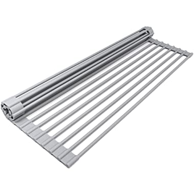 Sorbus Roll Rack [Large 20.5'' X 13 ] Over The Sink Drying Mat-Multipurpose Dish Drainer-Fruits Vegetable Rinser-Durable Silicone Covered Stainless Steel (Warm Gray)