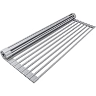 """Sorbus Roll Rack [Large 20.5'' X 13""""] Over The Sink Drying Mat-Multipurpose Dish Drainer-Fruits and Vegetable Rinser-Durable Silicone Covered Stainless Steel (Warm Gray)"""