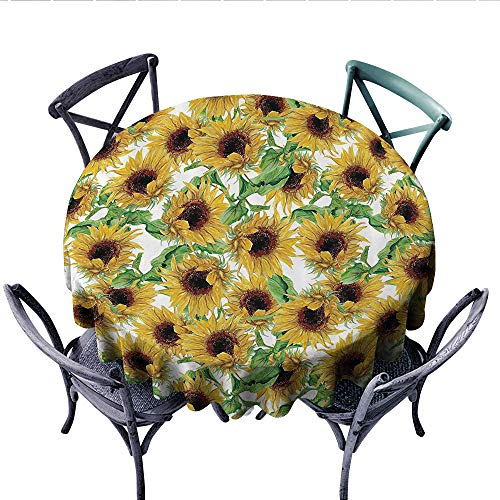Sunflower Decor Collection Circle Tablecloth Dried Sunflowers Illustration Wildflowers Branch Herbarium Artistic Design Fine Art Flannel Tablecloth (Round, 50 Inch,)